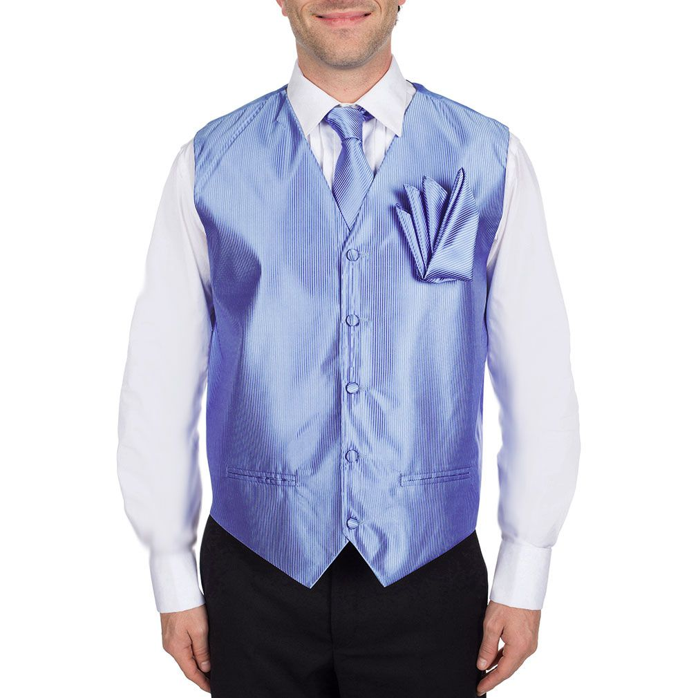 Men's Solid Fomal Vest, Tie, & Hanky Baby Blue for Tuxedo and Suit