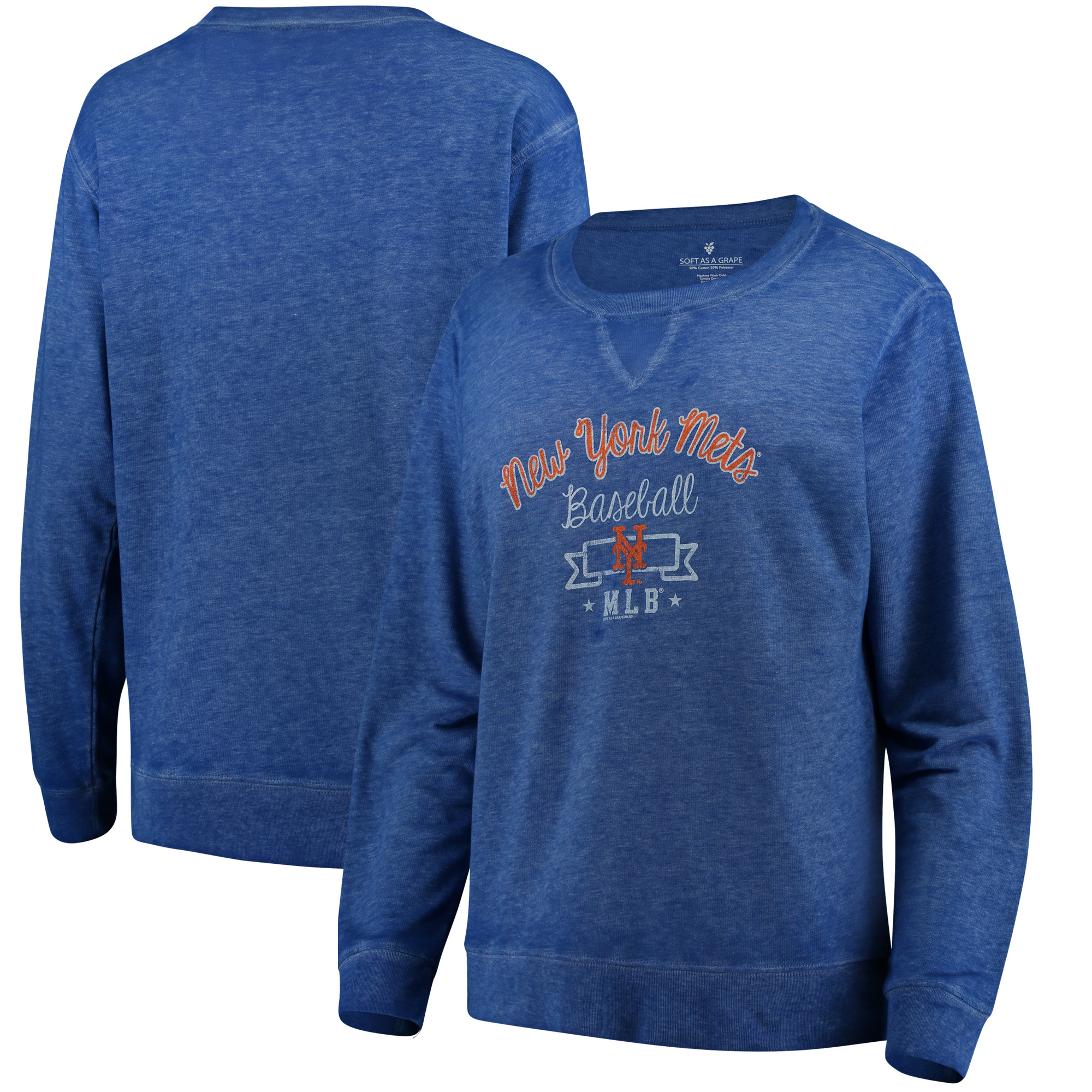New York Mets Soft as a Grape Women's Home Run Swing Sweatshirt - Royal