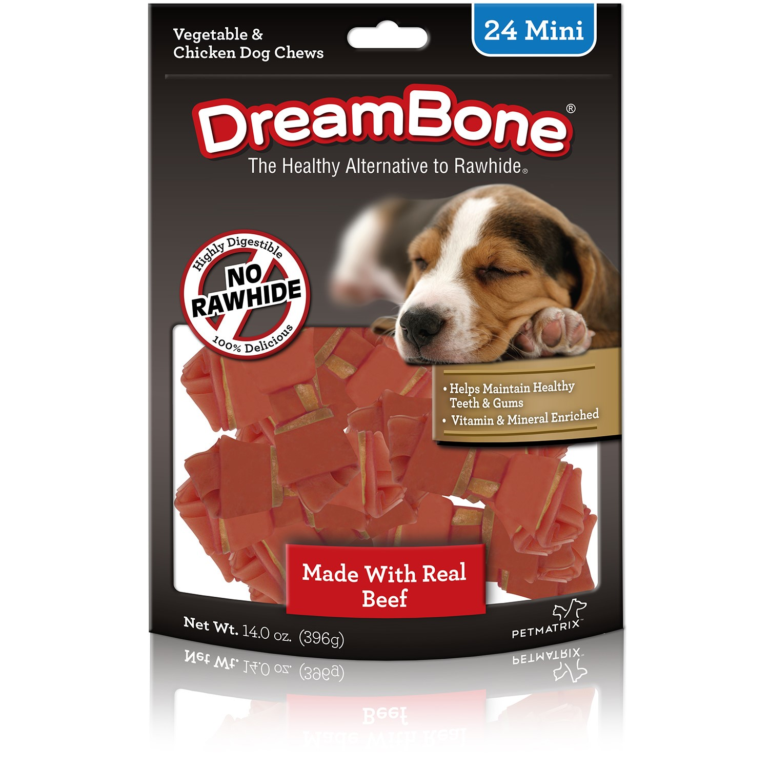 DreamBone Mini Chews With Real Beef 24 Ct, Rawhide-Free Chews For Dogs