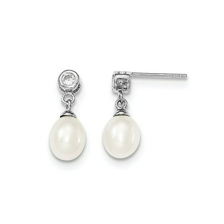 Sterling Silver Freshwater Cultured White Pearl 7-8mm Post Dangle Earrings - image 2 of 2