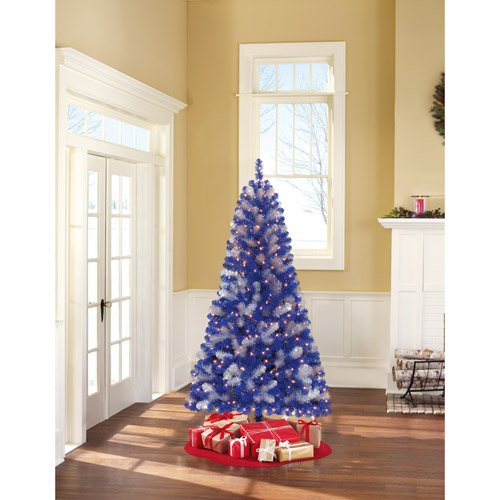 Holiday Time Pre-Lit 6' Artificial Christmas Tree, Blue/Silver, Clear Lights