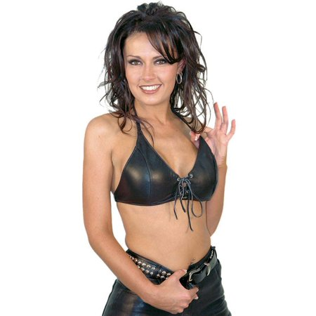 Black Lamb Leather - Black Lamb Leather Bikini Halter Top #LH3030L