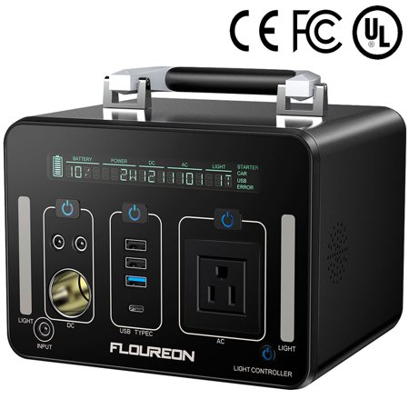 Portable Power Station, FLOUREON 500Wh 140400mAh Solar Generator for home use with 250W AC Outlet, 12V Car, 60W Type-C USB Output Lithium Power Supply for camping Road Trip Emergency