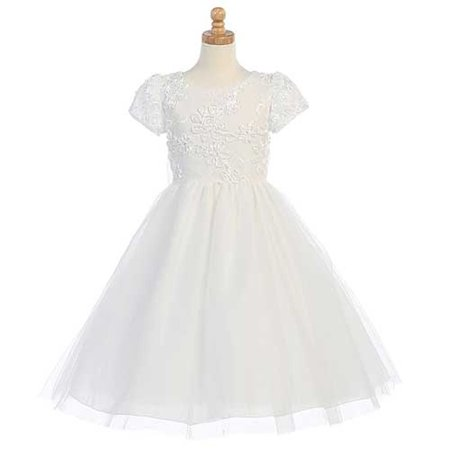 First Communion Ribbon (White Ribbon Embroidered Tulle First Communion Dress Girl)