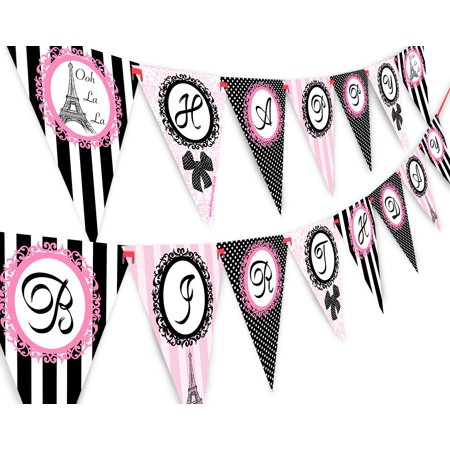 Paris Happy Birthday Banner Pennant - Paris Party Decorations - Glamour Girl Party Banner](Paris Birthday Decorations)