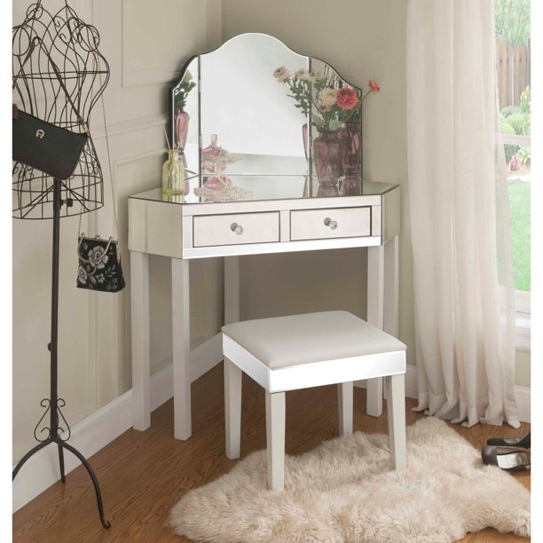 Daryl White Mirrored Corner Vanity Set 2 Drawers 3 Pieces Vanity And Stool With Mirror Walmart Com Walmart Com,United Airlines Baggage Policy Economy