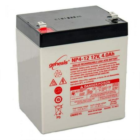 EnerSys Genesis (Yuasa) NP4-12 - 12 Volt/4 Amp Hour Sealed Lead (Yuasa 12 Volt 2-1 Amp Lead Acid Battery)