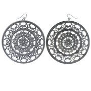 Large Silver-Tone Disc Shaped Earrings With Filigree Design For Women TME552