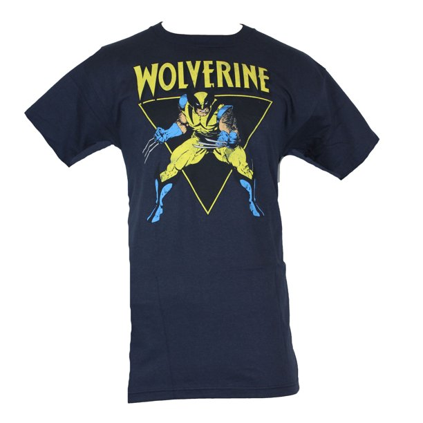 Wolverine (Marvel Comics) Mens T-Shirt - Battle Ready Triangle Image