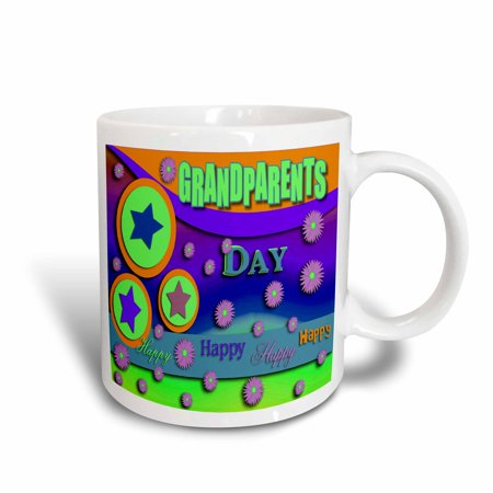 3dRose Grandparents Day Stars and Pink Flowers , Ceramic Mug, - Grandparents Day Gifts