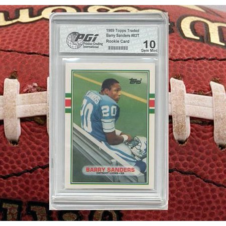 Barry Sanders 1989 Topps Traded Rookie Card Pgi 10 Gem