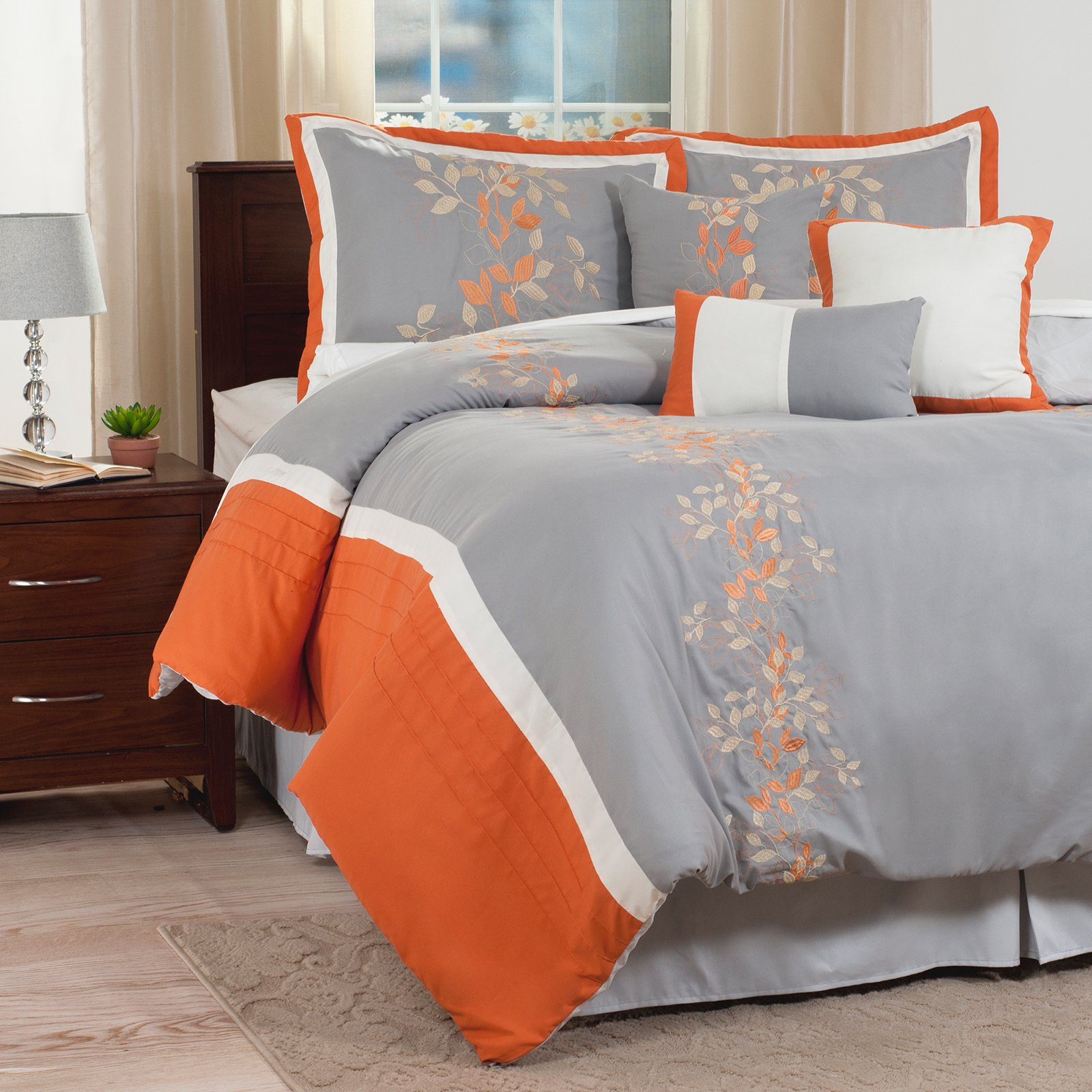Branches 7 Piece Embroidered Comforter Set by Lavish Home