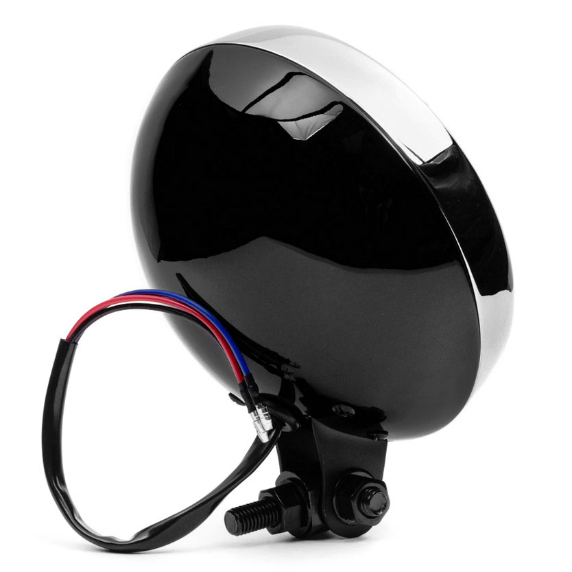"Krator 6"" Black w/ Chrome Ring Motorcycle Headlight Bottom Mount Running Light Hi/Lo for Honda Gold Wing Goldwing 1200 1500 1800 - image 2 of 8"