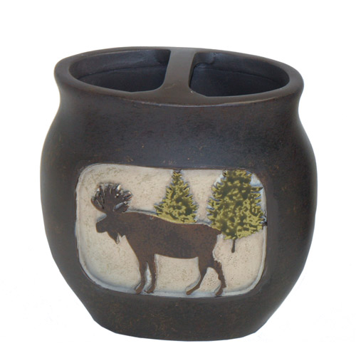 Bacova Guild Mountain Lodge Toothbrush Holder, Brown
