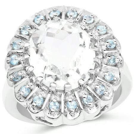 925 Sterling Silver Genuine Crystal Quartz and Swiss Blue Topaz Ring (5.90 Carat) Size 7 (Citrine Quartz Crystal)