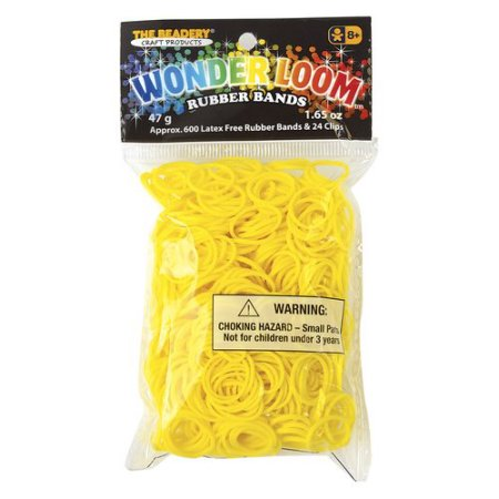 Yellow rubber bands for the Wonder Loom from The Beadery