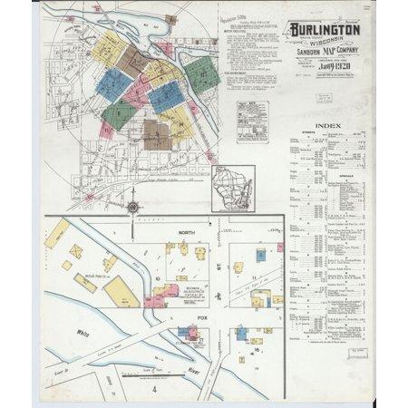 LAMINATED POSTER24x36 Sanborn Fire Insurance Map from Burlington, Racine County, Wisconsin. ()