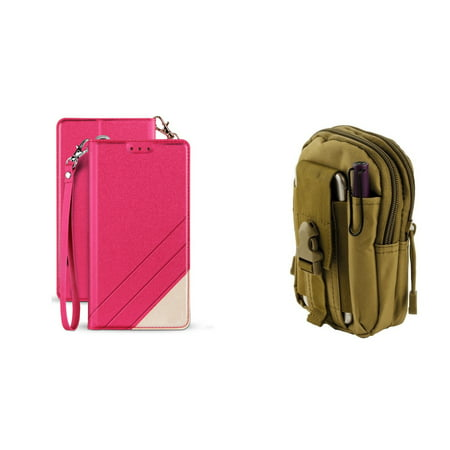 BC Synthetic PU Leather Magnetic Flip Cover Wallet Case (Hot Pink) with Khaki Tactical EDC MOLLE Waist Pouch and Atom Cloth for Samsung Galaxy J7, J7 V 2nd Gen 2018