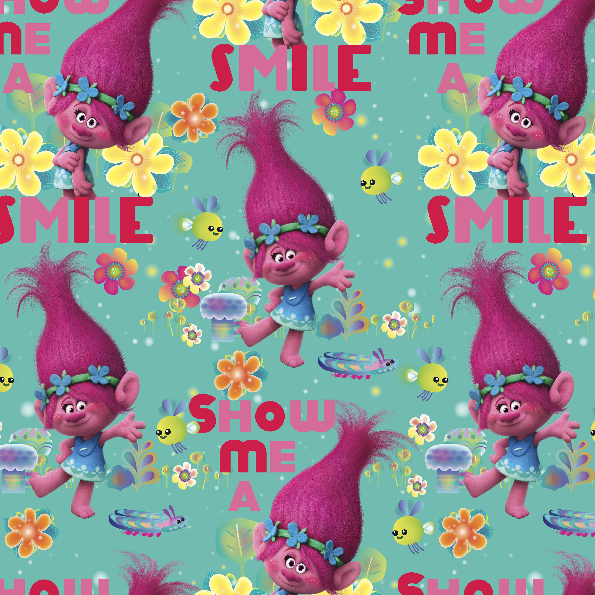 Poppy the Troll printed iron//sew on canvas fabric patch
