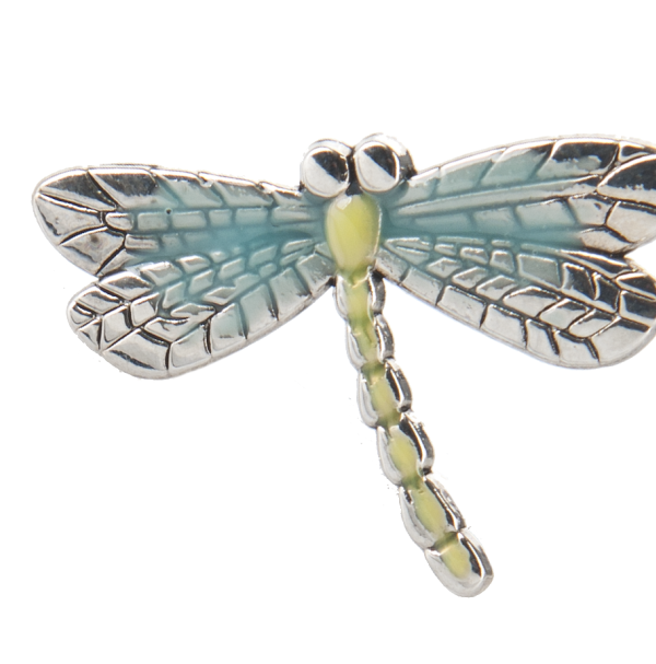 Turquoise and Green Accentend Metal Dragonfly Pin By Ganz by