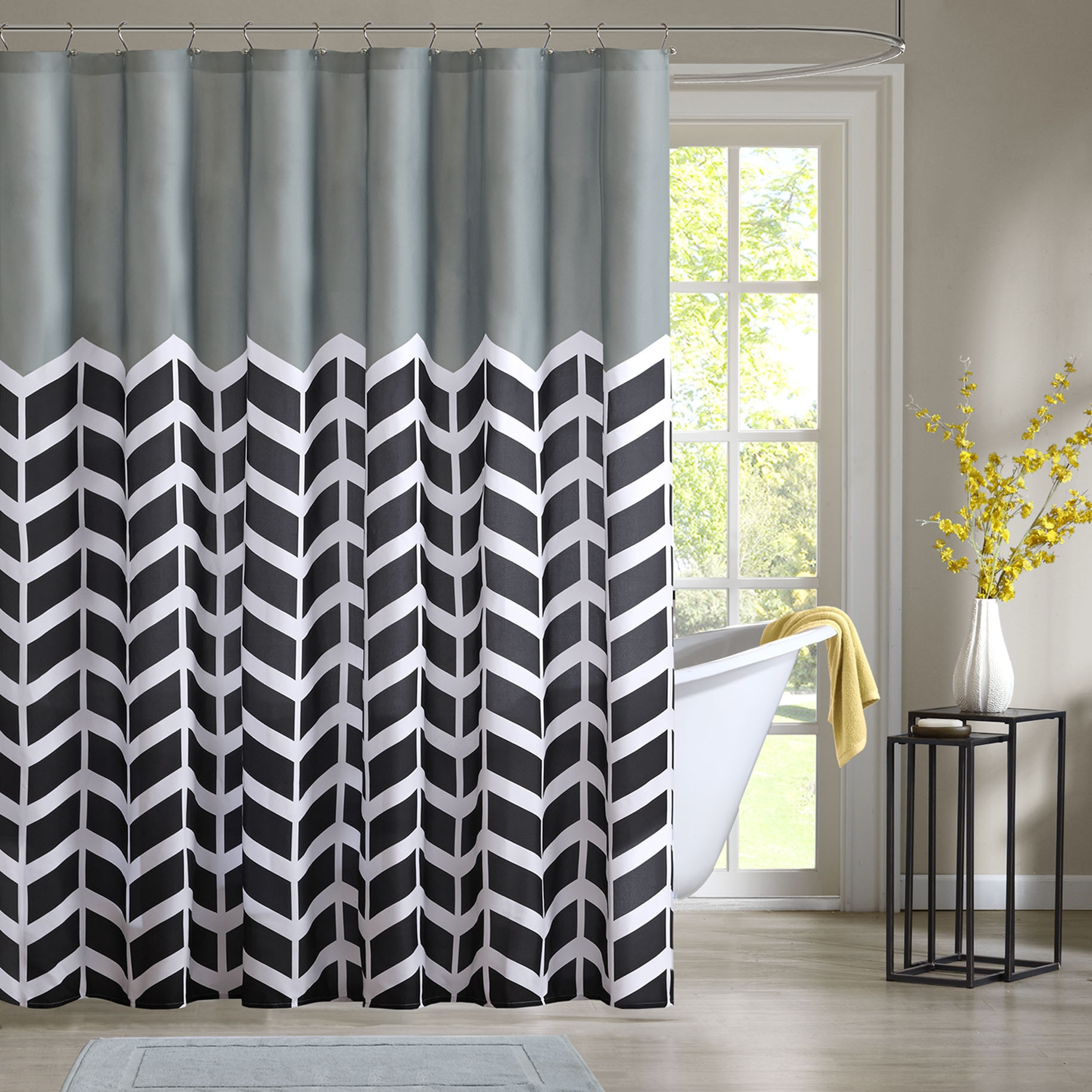 Home Essence Apartment Darcy 100 Microfiber Printed Shower Curtain