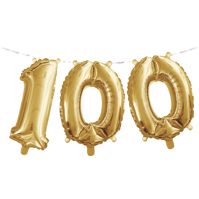 "Milestone Birthday Balloon Banner 16""L x 5'L ""100"" Gold, Case of 36"