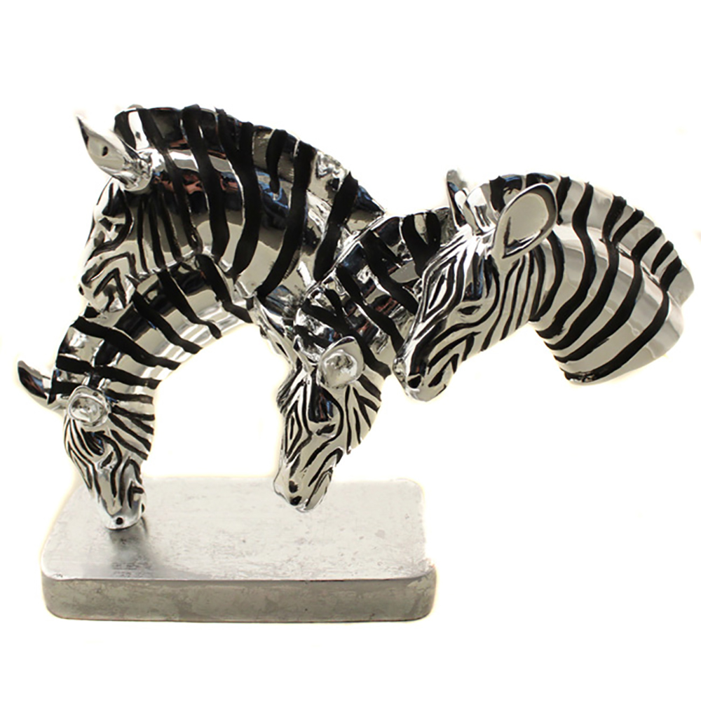 Urban Designs Grazing Zebras Mirror Finish Table Sculpture Decor