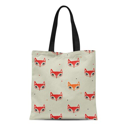 Cute Reusable Grocery Bags (ASHLEIGH Canvas Tote Bag Red Cute Fox Face Pattern Colors Creative Forest Durable Reusable Shopping Shoulder Grocery)