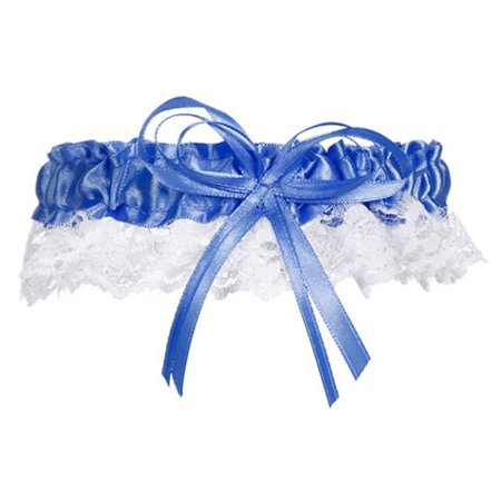 Wedding Garter Cobalt Blue Satin and White Lace with Bow Prom (3), satin, lace By Victoria Lynn](Prom Garter)