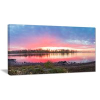 Design Art Beautiful Fall Sunrise Over River Photographic Print on Wrapped Canvas