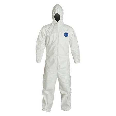 DuPont TY127SWHXL00 X - Large White Safespec Tyvek Flash Spun Polyethylene Disposable Coveralls With Front Zipper Closure, Respirator Fit Hood, Elastic Wrist And Elastic Ankles (1/EA)