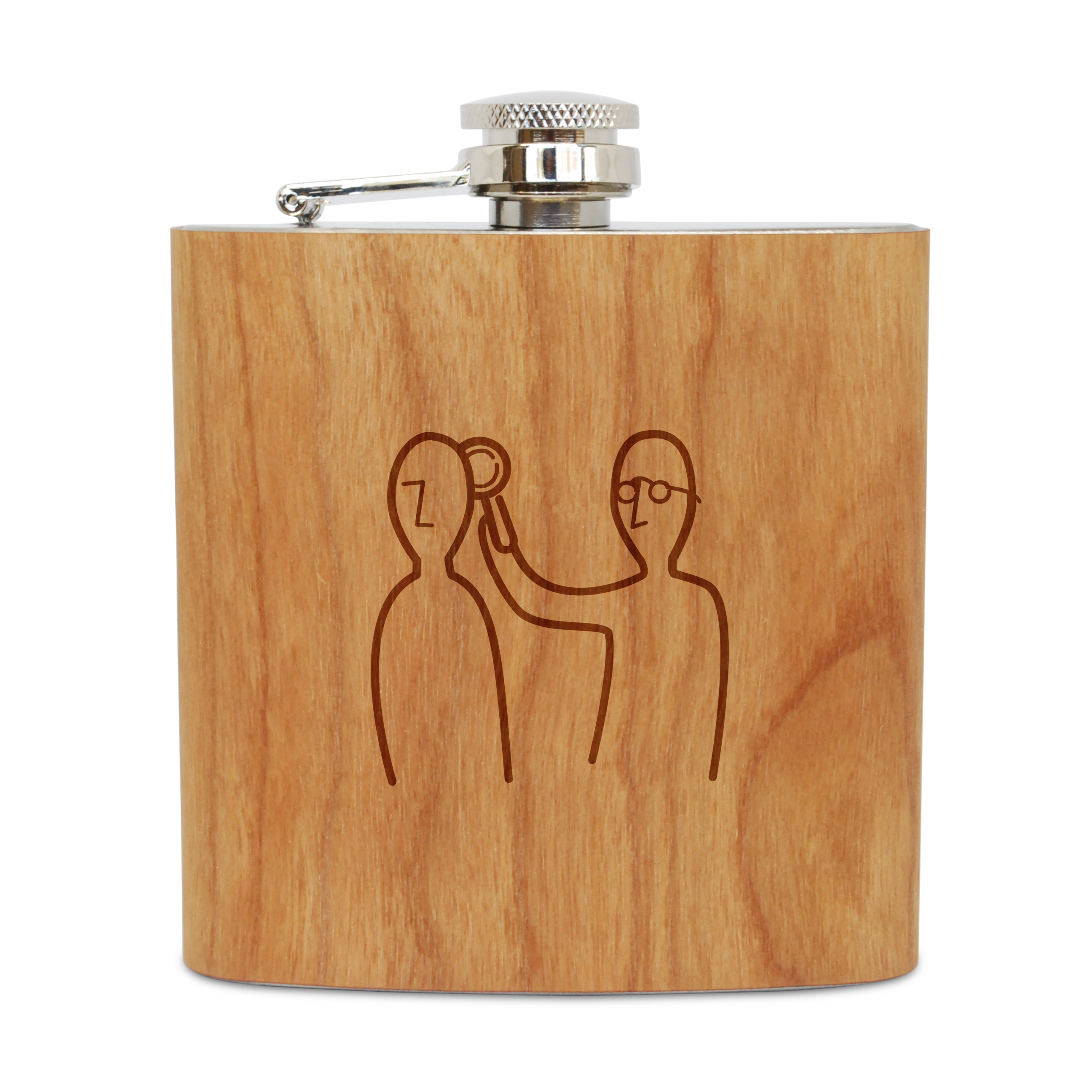 Psychiatrist 6 Oz Wooden Flask (Cherry), Stainless Steel Body, Handmade In Usa
