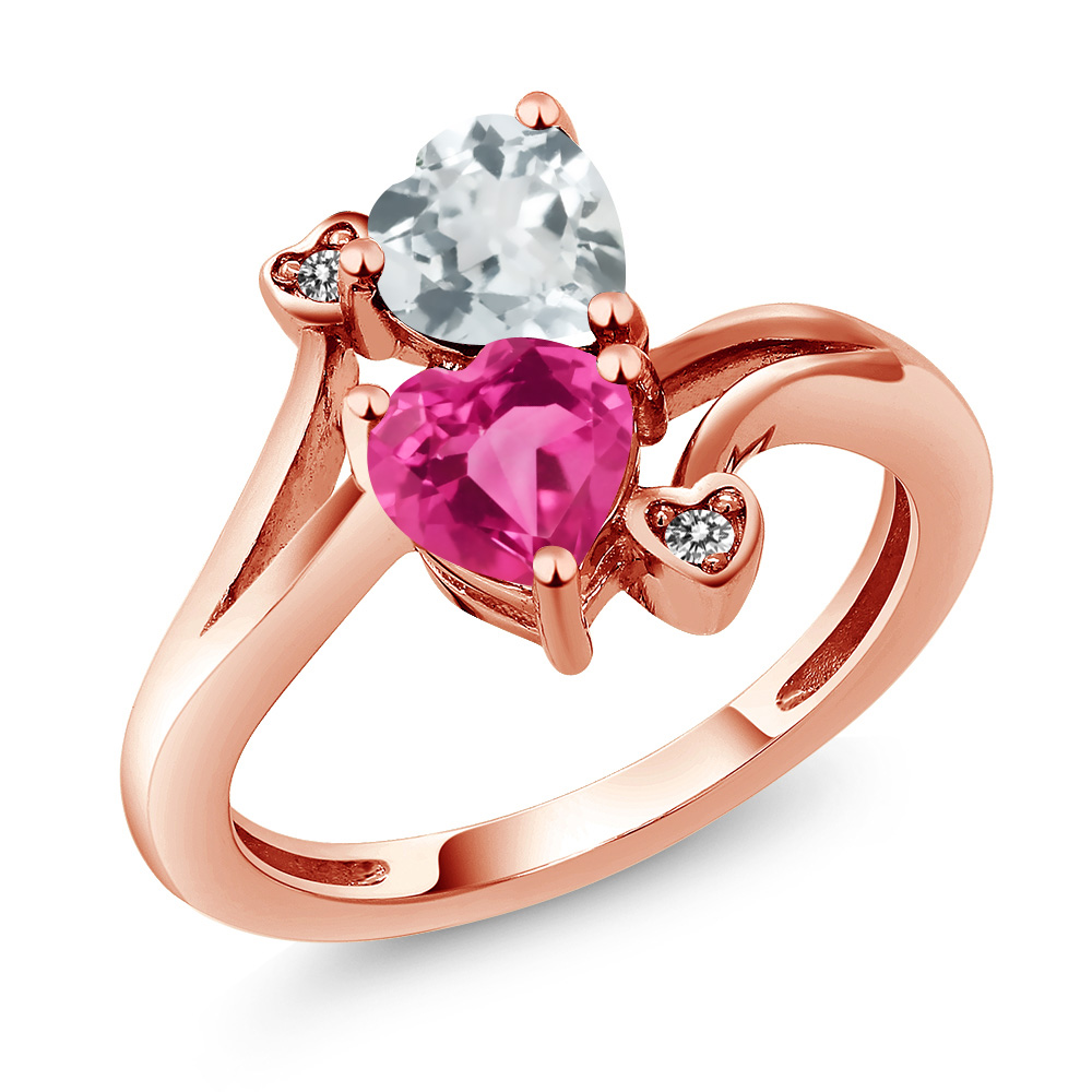 1.50 Ct Heart Shape Pink Created Sapphire Sky Blue Aquamarine 14K Rose Gold Ring by