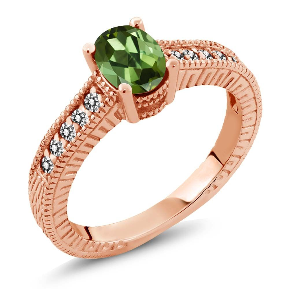 1.18 Ct Oval Green Tourmaline White Diamond 14K Rose Gold Engagement Ring by