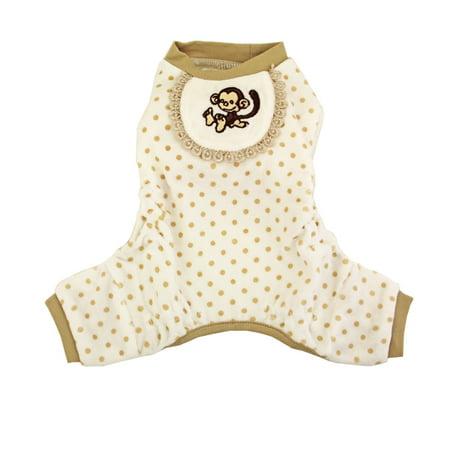 Monkey Design Dog Pajamas - Beige - Small](Custom Design Pajamas)