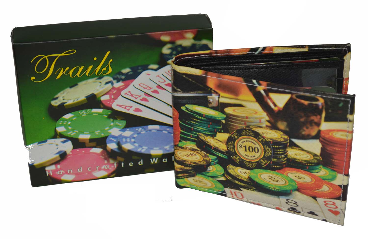 Mens Bifold Exotic Wallet Picture Casino Poker Chips with printed gift box.