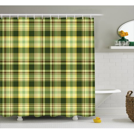 Olive Green Shower Curtain Quilt Pattern Traditional Scottish Design Checkered Geometrical Fabric Bathroom Set