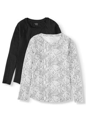 Time and Tru Women's Long-Sleeve Raglan T-Shirt, 2-Pack Bundle