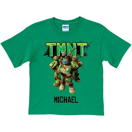 Personalized Teenage Mutant Ninja Turtles Group Youth Green T-Shirt](Green Ninja)