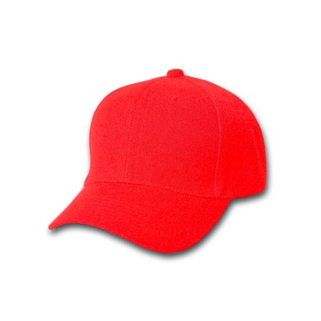 Plain Blank Baseball Hats Adjustable Hook and Loop Closure, Red - Plain Birthday Hats