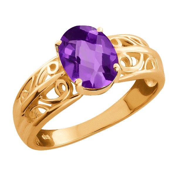 1.00 Ct Checkerboard Purple Amethyst Gold Plated Sterling Silver Ring