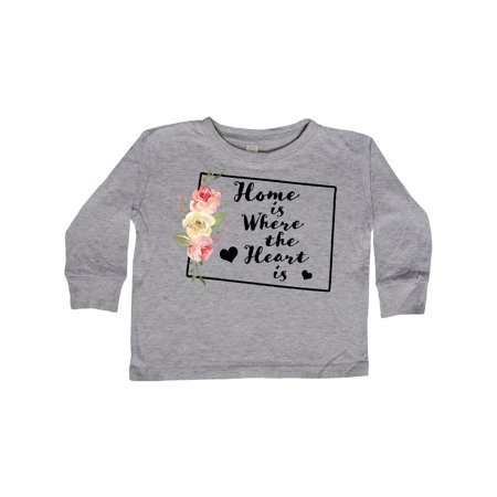 Colorado Home is Where the Heart is with Watercolor Floral Toddler Long Sleeve T-Shirt