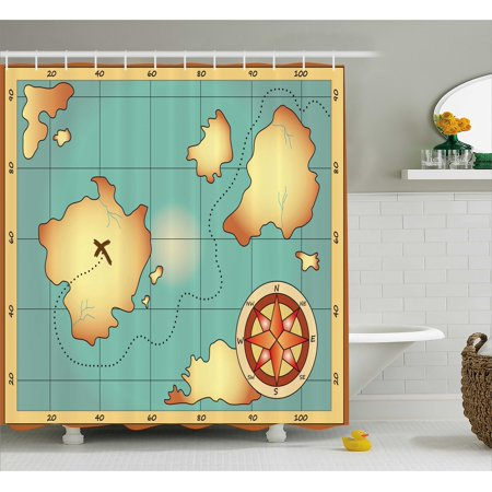 Island Map Decor Shower Curtain, Ancient Treasure Map Design with Compass Navigation Adventure Hidden Land, Fabric Bathroom Set with Hooks, 69W X 70L Inches, Cream Blue, by Ambesonne ()