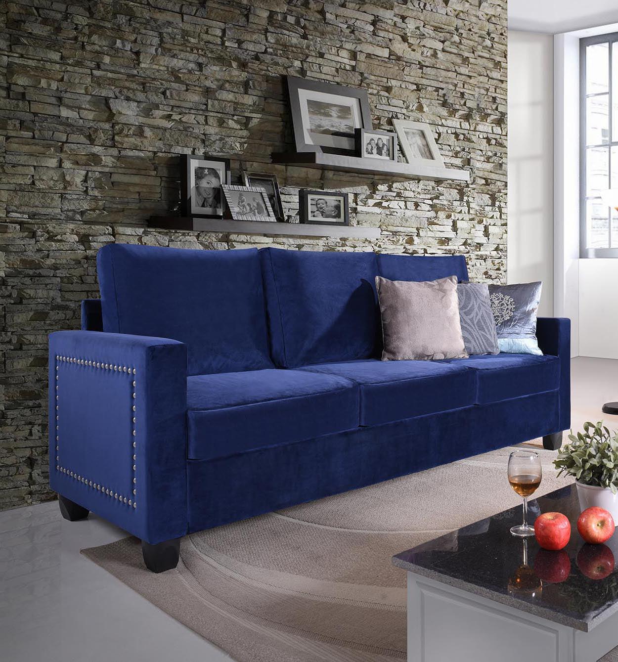 Wiles Blue Upholstered Velvet Transitional Stationary Living Room Sofa Couch (Pewter Nailheads)