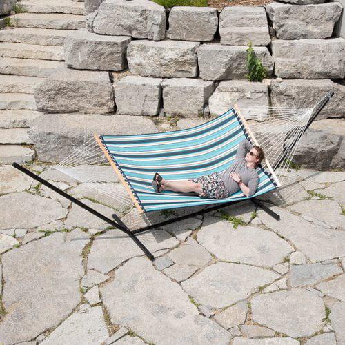 Vivere Sunbrella Quilted Double Hammock, Carnegie Celeste
