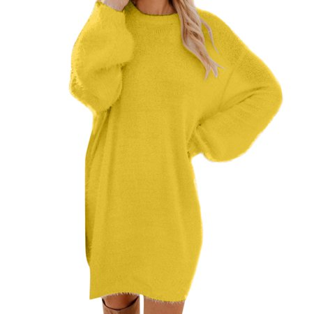 snorda Women Winter Sweater Knit Turtleneck Warm Long Sleeve Pocket Mini Sweater Dress