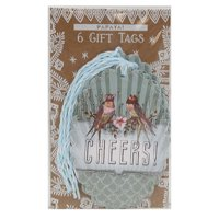 PAPAYA Cheers Glitter Love Birds Congratulations High-Quality Gift Tag 6 Pack