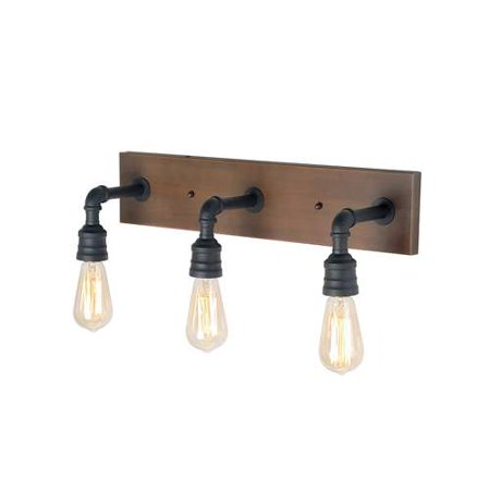 LNC 3-Light Water Pipe Wall Sconce Black Wall Lamp Industrial Sconces Wall Lighting