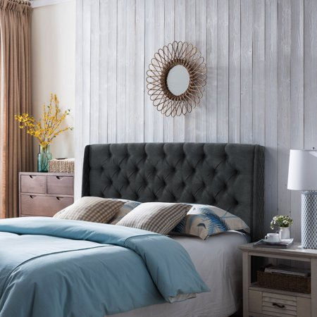 Noble House Wingback Queen/Full Tufted Fabric Headboard,Dark Grey ()