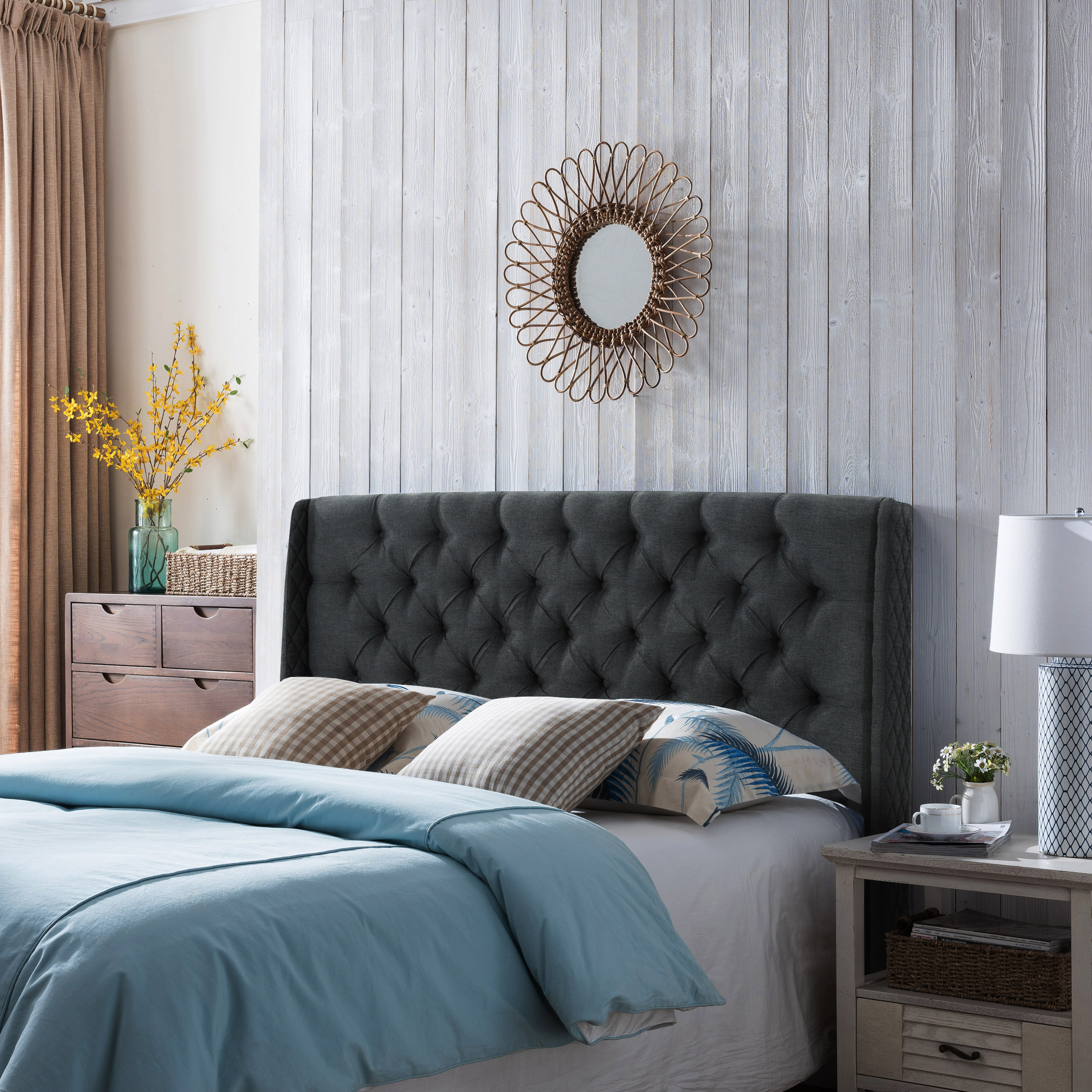 Noble House Wingback Queen/Full Tufted Fabric Headboard,Dark Grey